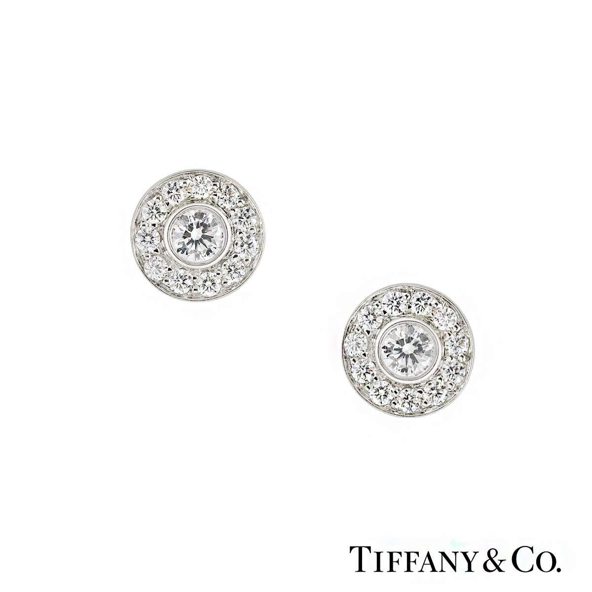 84dccfcc9 Tiffany & Co Diamond Set Circlet Earstuds in Platinum 0.53ct - Rich Diamonds  Of Bond Street